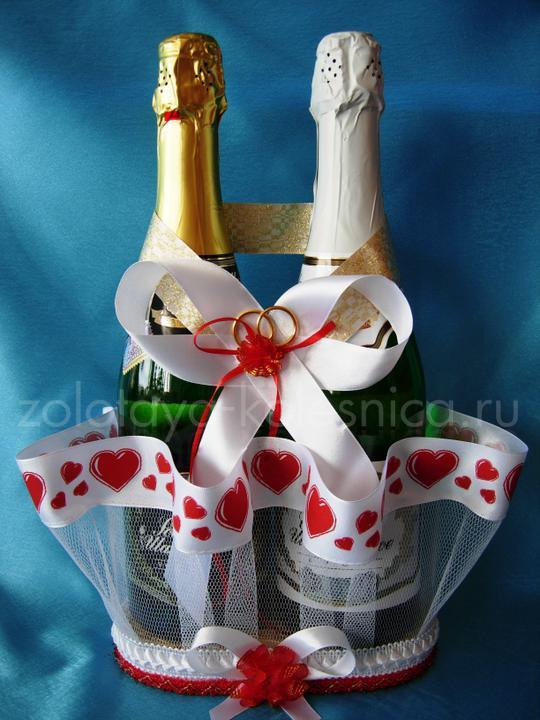 Украшение шампанского на свадьбу с картоном