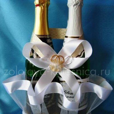 Как украсить корзину для шампанского своими руками